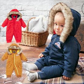 f116825e56d1d  ベビー   LITTLE BEAR CLUB ファー付中綿ジャンプスーツ  防寒 あったか