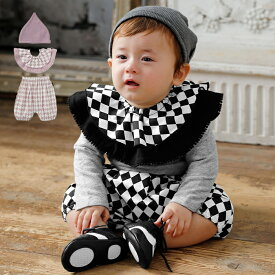 【mocmof】ピエロブルマ、スタイ、キャップ3点セット| 女の子 かわいい ベビー服 新生児 赤ちゃん服 ベビーウエア 服