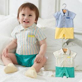 28501234d453b  ベビー  kids zoo 先染めシャツコーディネート風ロンパース ベビー 赤ちゃん
