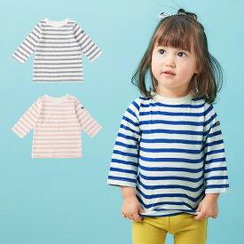 【ベビー】【Ampersand】デイリーボーダー 7分袖 Tシャツ カットソー おしゃれ かわいい【ベビー 男の子 女の子 おとこのこ おんなのこ キッズ 服 子供服】