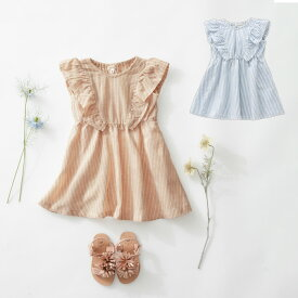 【Seraph】フリルワンピース ベビー 服 ノースリーブ ワンピース ストライプ ブルー ベージュ 女の子 かわいい おしゃれ ひざ丈
