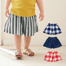 【Seraph】シンプル キュロットパンツ ベビー 服 ボトム 女の子 スカートパンツ ワイド ストライプ チェック かわいい おしゃれ キュロットスカート スカパン