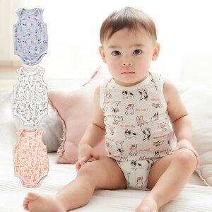【最大10%OFFクーポン配布中】Ampersand メッシュ インナーボディ ロンパース ノースリーブ タンク 男の子 女の子 ベビー服 赤ちゃん 肌着 総柄 動物柄 白 ピンク