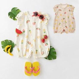 【Ampersand】フルーツ柄パフスリーブロンパースベビー服 赤ちゃん 男の子 女の子 ロンパース かわいい 綿 エンジェリーベ 服