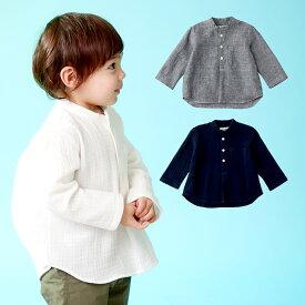 【ベビー】【CLOUDY,FINE LATER】ヘンリーネックシャツ 男の子 ベビー服 シャツ 長袖 スタンドカラー