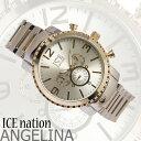 ICE nation 男性用メンズ腕時計 フランコ ラグジュアリー シルバーゴールドメタルシンプルウォッチうでどけいアナログ…