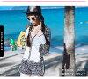 [一部分2月中旬预订]游泳衣高峰保护女士4分安排体型覆盖物大的尺寸妈妈游泳衣体操服长袖子jippuappubikini上下短裤UV cut UPF50+素色花纹S M L LL 3L天使月神快递y