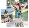 Separate fashion flare bandeau y where high neck bandeau brass cart pareo style leaf handle floral design feather handle light blue blue black black white white M L LL figure cover mom with the pat with swimsuit Lady's bikini three points set wire is pre