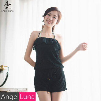 Fashion y which the child of three types of swimsuit outer one piece of article haori bikini jacket dress rompers salopette lady's big size 3L race Shin pull black and white cafe woman has a cute