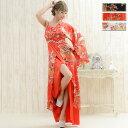 【花魁衣装ロングドレス】着物ドレス ワンショルダー 豪華ビジューサテン和柄ワンショルロング着物ドレス和柄 花魁 …