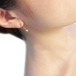 【13日まで!耳たぶ5%OFF♪(ご注文確認後に金額修正)】[K18WG][K18]ダイヤモンドおやじピアリング(0.10ct)