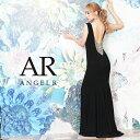 AngelR エンジェルアール[バッグビジューデザインロングドレス]ロングドレス タイト ノースリーブ ビジュー 細い パー…