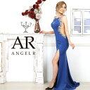 AngelR エンジェルアール[サイドラグジュアリービジューロングドレス]ロングドレス タイト ノースリーブ スリット ビ…