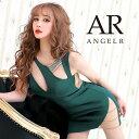 AngelR エンジェルアール[デザインカットビジュータイトミニドレス]ミニドレス タイト ノースリーブ ビジュー 細い パ…