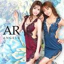 AngelR エンジェルアール[フラワー刺繍メッシュカッティングタイトミニドレス]ミニドレス タイト ノースリーブ ビジュ…