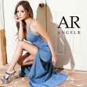 AngelR エンジェルアール[デコルテビジューアシンメトリーロングドレス]ロングドレス タイト ノースリーブ ビジュー …