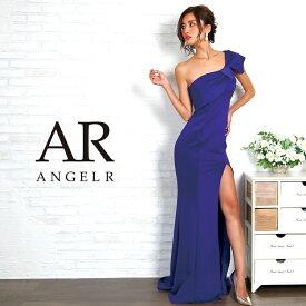 AngelR エンジェルアール [リボンモチーフワンショルダータイトロングドレス]ロングドレス タイト ワンショルダー 無地 スリット 細い パーティー 女子会 赤 レッド |高級キャバドレスAngelR(エンジェルアール) 赤 レッド AR8234