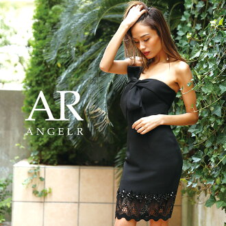 [decollete ribbon different fabrics mixture Thailand Steller's sea lion reply] party girls-only gathering   where a minidress tight base-up top race stone ribbon dress is thin High-quality キャバドレス AngelR (angel are)   AR8238