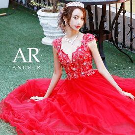 AngelR エンジェルアール [バックシアーレースフレアロングドレス]ロングドレス フレア 袖あり フラワーモチーフ ビジュー ストーン ワンピース 細い パーティー 女子会 赤 レッド |高級キャバドレスAngelR(エンジェルアール) あす楽