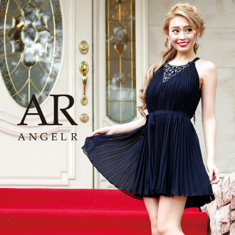 [chiffon pleats flare minidress] party girls-only gathering | where a minidress flare no sleeve pleats dress is thin High-quality キャバドレス AngelR (angel are) | AR8337
