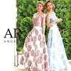 [off shoulder design cut flower motif flare long dress] party girls-only gathering | where a long dress flare off shoulder floral design flower dress is thin High-quality キャバドレス AngelR (angel are) | AR8812