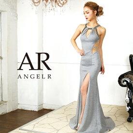 AngelR エンジェルアール [デコルテデザインカットタイトロングドレス]ロングドレス タイト ノースリーブ ビジュー ストーン スリット 細い パーティー 女子会|高級キャバドレスAngelR(エンジェルアール)|AR9805