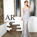 AngelR エンジェルアール[フラワーレースデザインタイトロングドレス]ロングドレス タイト ノースリーブ 花柄刺繍 レ…