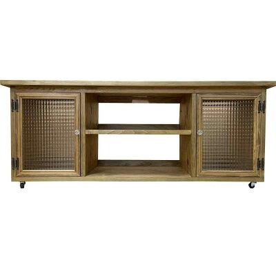 テレビ台50型アンティークブラウン120×36×48cmチェッカーガラス扉キャスター付きパンプキンノブ木製ひのきハンドメイドオーダーメイド