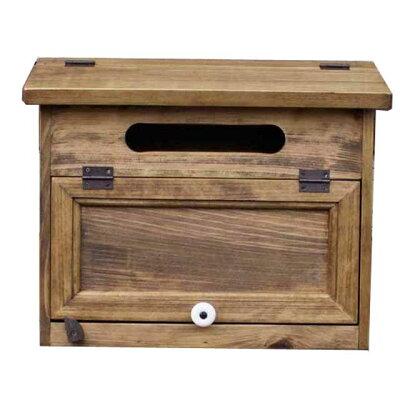 ポスト木製ひのきアンティーク調家具木製扉横型ポスト屋根フラット上蓋開閉タイプ郵便受けアンティークブラウン