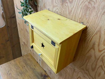ポスト横型ナチュラル37×20×30cmフラットタイプ星型ガラスあり郵便受け木製ひのきハンドメイドオーダーメイド