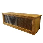 キャビネット木製ひのき横型キャビネットおうちカフェチェッカーガラス扉80×27×26cmナチュラル