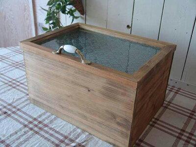 カントリーボックスフローラガラス蓋収納箱38×28×22cmアンティークブラウン木製ひのきハンドメイドオーダーメイド