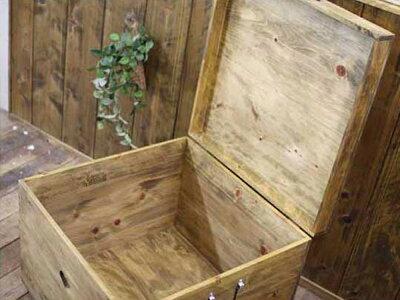カントリーボックスハートウッドボックスふた・キャスター付き50×50×41.5cmアンティークブラウン木製ひのきハンドメイドオーダーメイド