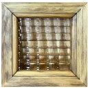 ガラスフレームチェッカーガラスアンティークブラウン14.5×2×14.5cm木製ひのきハンドメイドオーダーメイド