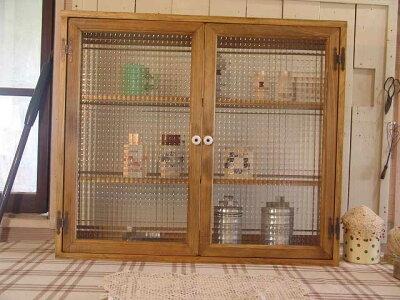 アンティークブラウン◇フランス製チェッカーガラスのキャビネット三段棚◇マグネット仕様(ニッチ用埋め込みタイプ)