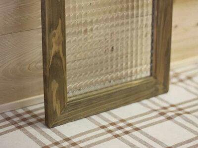 アンティークブラウン◇フランス製チェッカーガラスのガラスフレーム◇ガラス窓(30×60cm)
