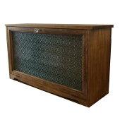 キャビネット木製ひのき横型キャビネットフローラガラス60×18×33cmおうちカフェ飾り脚パンプキンノブアンティークブラウン