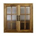 カフェ窓 室内窓 採光窓 チェッカーガラス扉 木製 ひのき 60×15×60cm・厚み3cm 両面仕様 桟入り アイアン取っ手つき 北欧 アンティー…