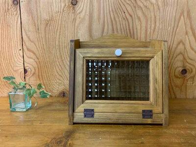 ブレッドケースミニミニサイズチェッカーガラス扉25×17×23cmアンティークブラウン木製ひのきハンドメイドオーダーメイド