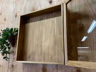 ディスプレイケース透明ガラスアンティークブラウン40×9×40cm四角木製ひのきハンドメイドオーダーメイド