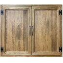 室内窓採光窓木製扉両面取っ手マグネット仕様70×15×60cmアンティークブラウン木製ひのきハンドメイドオーダーメイド