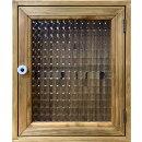 キーボックスチェッカーガラス扉ニッチ用アンティークブラウン25×12.5×30cm木製ひのきハンドメイドオーダーメイド