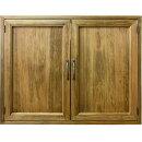 室内窓採光窓平兆番木製扉両面取っ手マグネット仕様70×15×60cmアンティークブラウン木製ひのきハンドメイドオーダーメイド