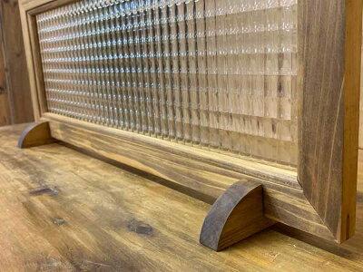 ガラスフレームフレームスタンドセットアンティークブラウンチェッカーガラス片面仕様60×2×25cm北欧木製ひのきハンドメイドオーダーメイド