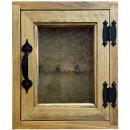 キーボックスアンティークブラウンフローラガラス扉25×7×30cmアイアン取っ手木製ひのきハンドメイドオーダーメイド