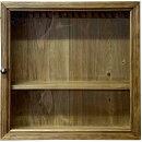 コレクションケース透明ガラス扉アンティークブラウンw40d10h40cm真鍮つまみ木製ひのきハンドメイドオーダーメイド