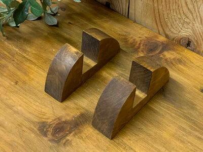 フレームスタンドアンティークブラウン4×15×7cm2個セット傾斜タイプ木製ひのきハンドメイドオーダーメイド