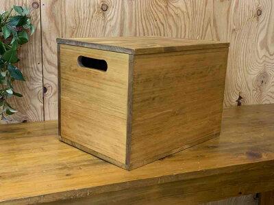 木箱アンティークブラウン35×25×25cm二方桟蓋つきカントリーウッドボックス収納箱木製ひのきハンドメイドオーダーメイド