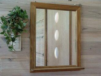 Antique Brown-wooden mirror shelf-mirror-(40 x 50 cm)