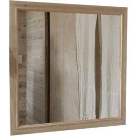 ミラー 正方形 無塗装白木 w70d2h70cm 木製 桧 オーダーメイド